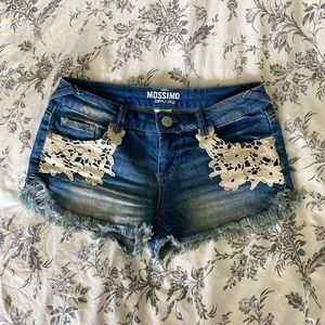 Distressed Jean Shorts with White Flower Lace